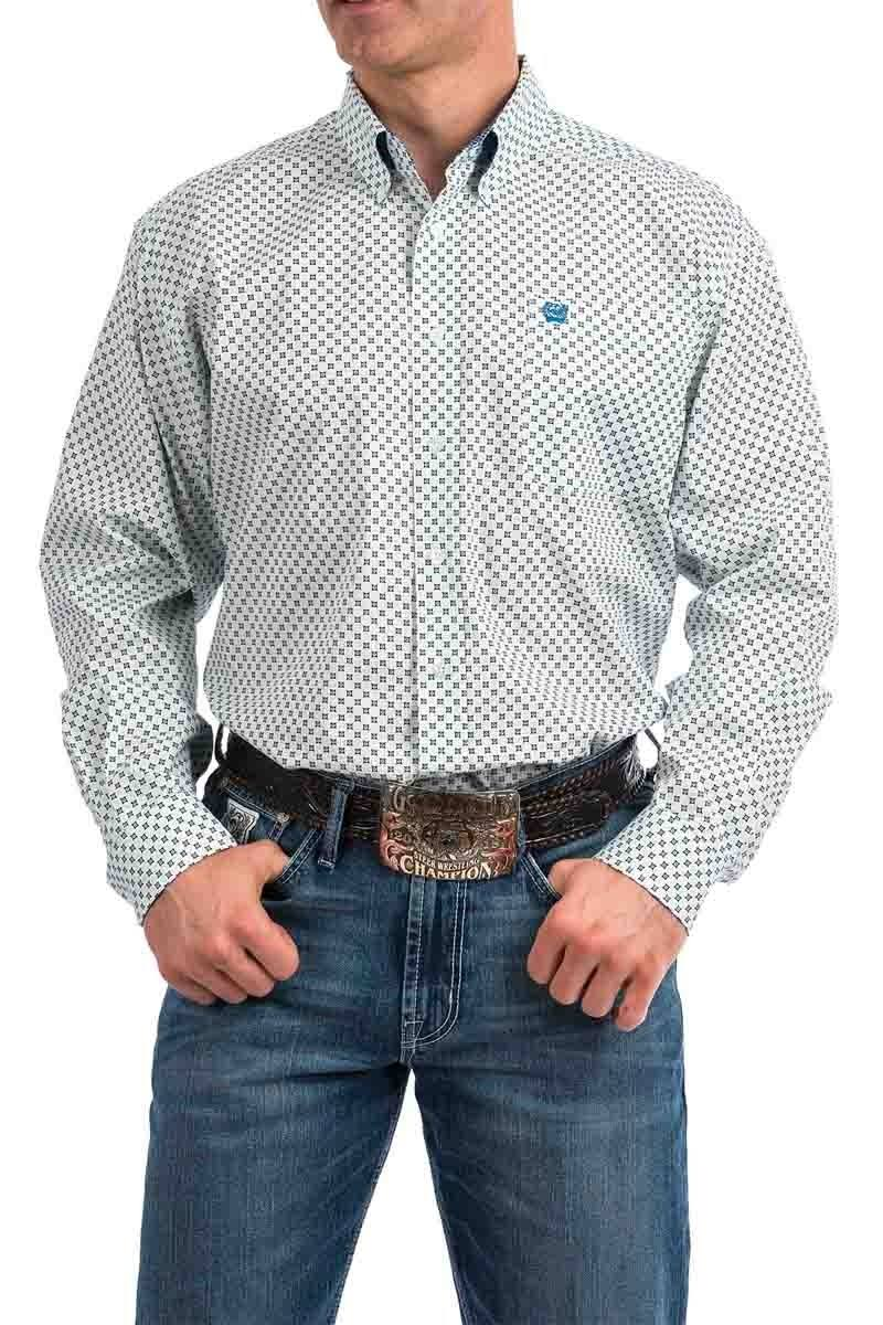 Cinch Western Shirt Men Long Sleeve Button Light Blue MTW1104768