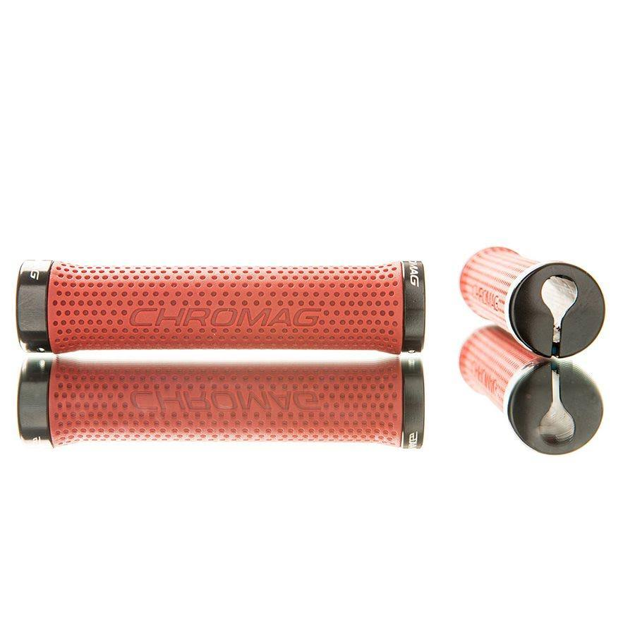 Chromag Basis Lock Grips - Red and Black, 142mm