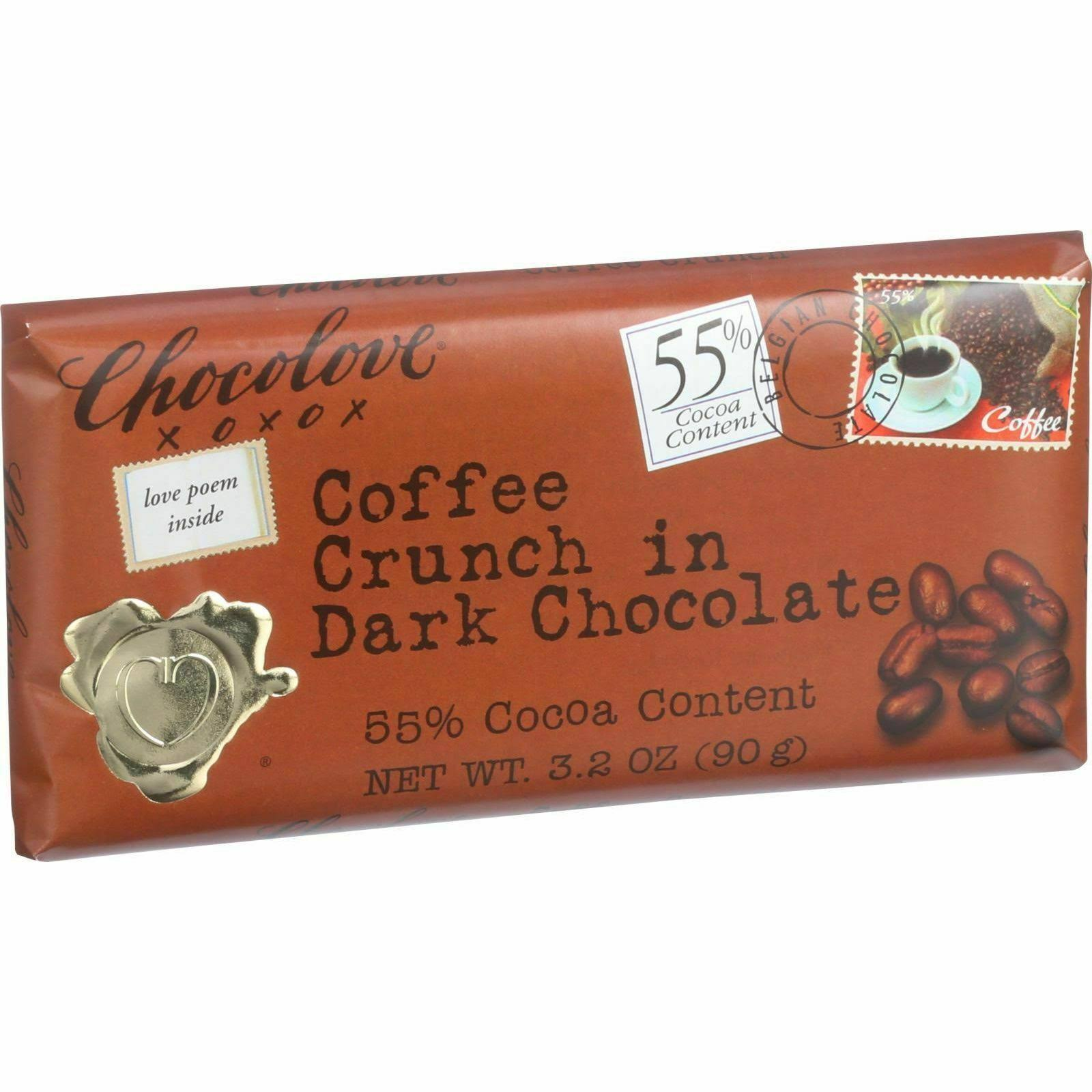 Chocolove Dark Chocolate Bar - Coffee Crunch, 3.2oz