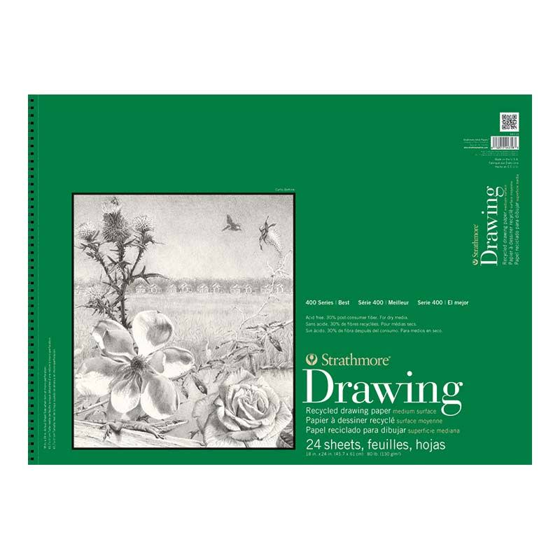"Strathmore Recycled Drawing Spiral Paper Pad - 18"" x 24"", 24 Sheets"