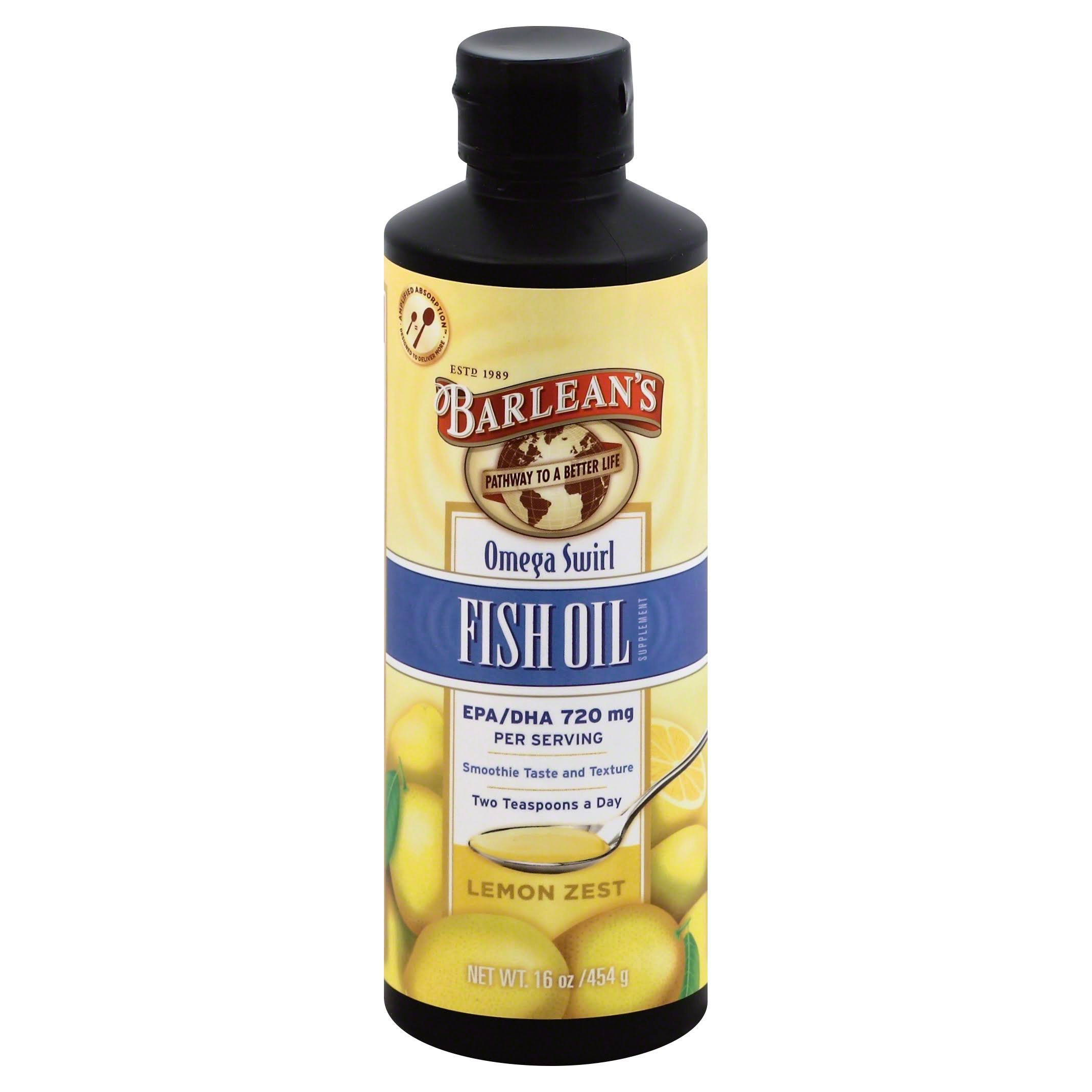 Barlean's Omega Swirl Fish Oil - Lemon Zest, 16oz