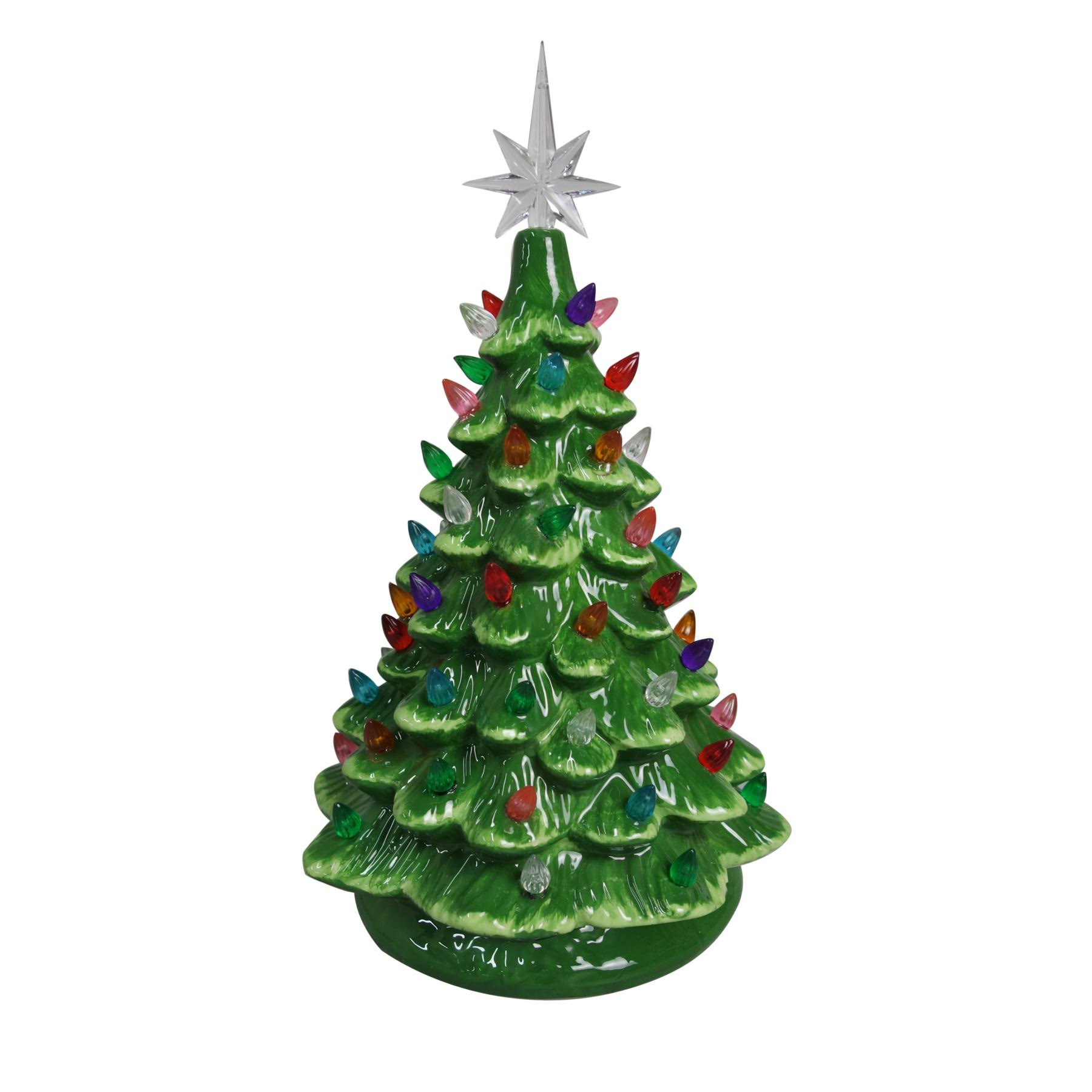 "Christmas Is Forever Lighted Tabletop Ceramic Tree - 14.5"", Green Tree and Multi Color Lights"