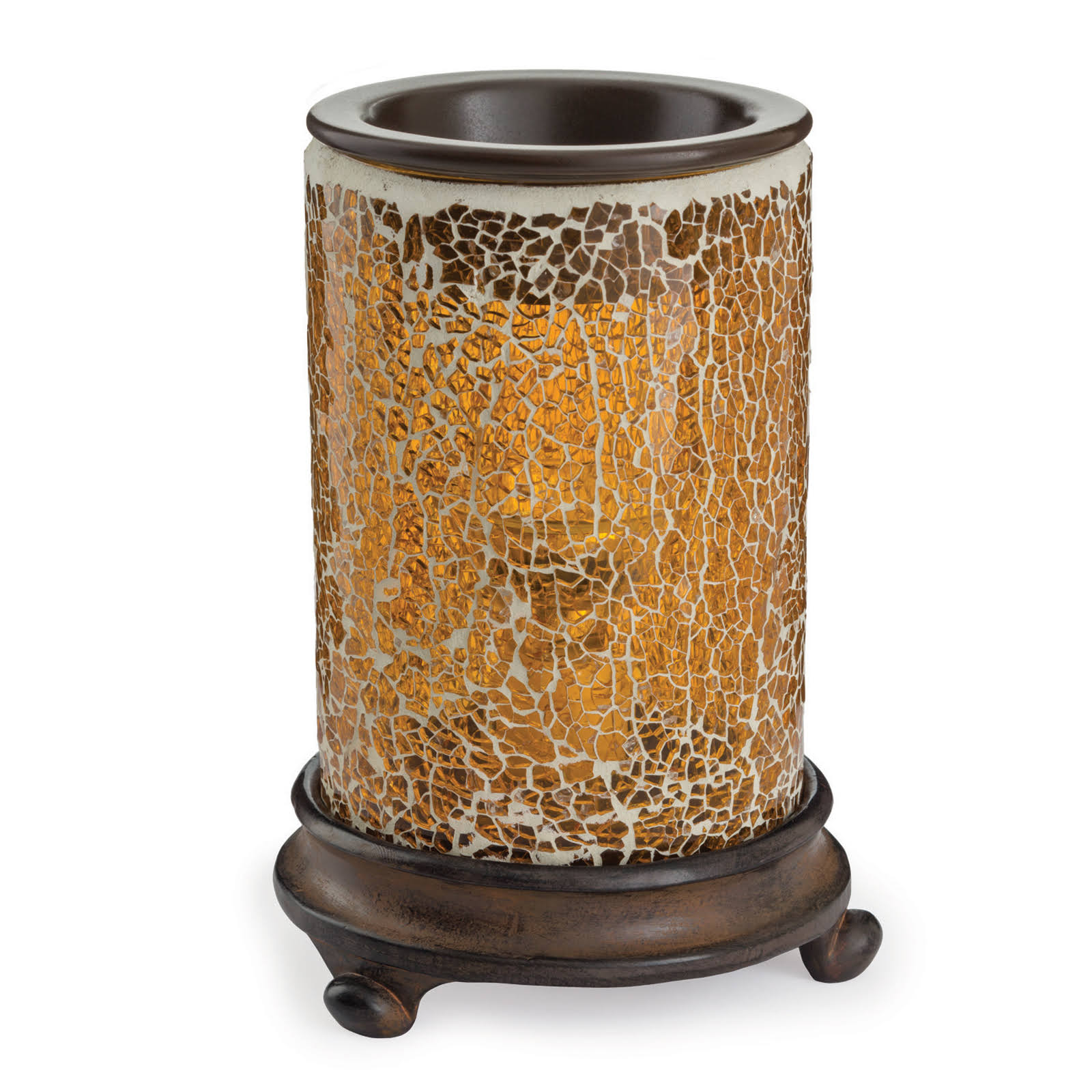 Candle Warmers Glass Illumination Fragrance Wax Warmer - Crackled Amber, 8.8in