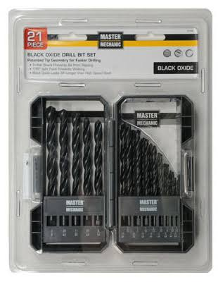 Master Mechanic Black Oxide Drill Bit Set - 21pcs