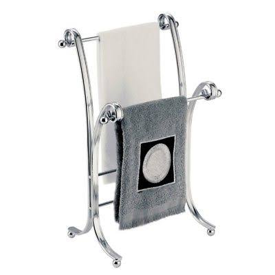 Interdesign York Lyra Metal Towel Holder Stand - Chrome