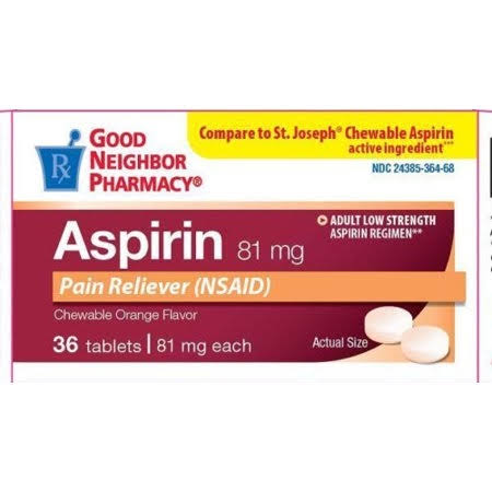 Good Neighbor Pharmacy 81 mg Aspirin Orange Flavor Chewable 36 Counts