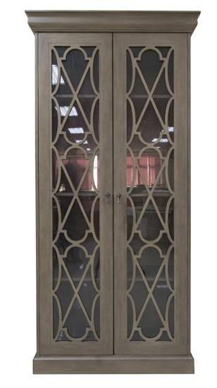 Hawthorne Estate Asbury Pine 2 Glass Door Fretwork Tall Cabinet
