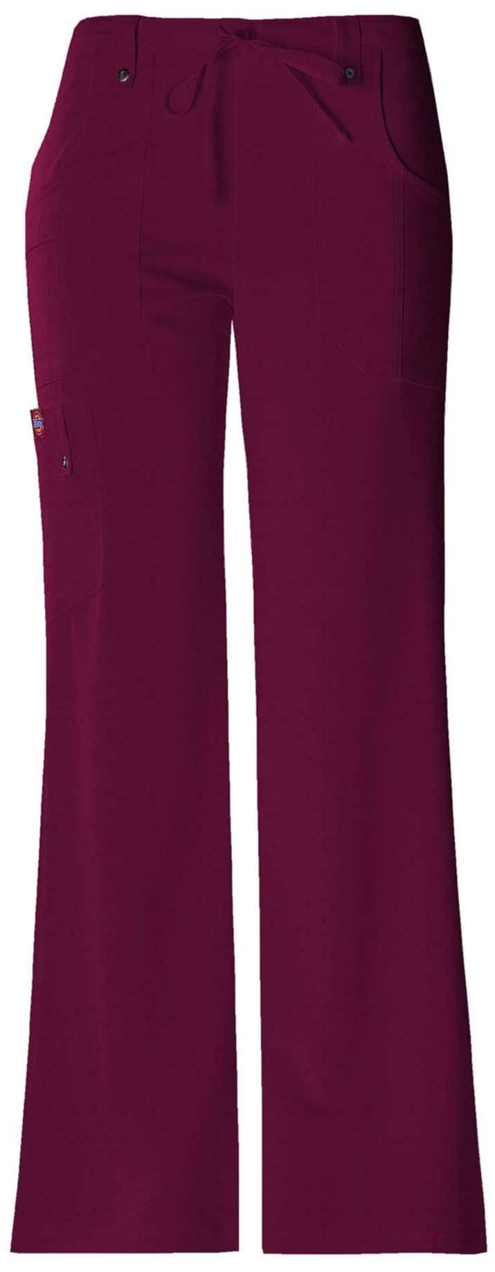 Dickies Women's Xtreme Stretch Fit Drawstring Flare Leg Pant - Wine, Large Tall