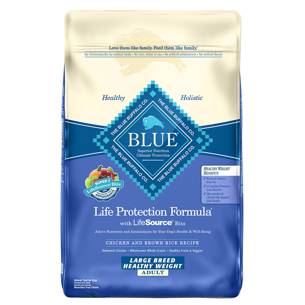 Blue Buffalo Large Breed Healthy Weight Adult Dog Food - Chicken and Brown Rice. 30lbs