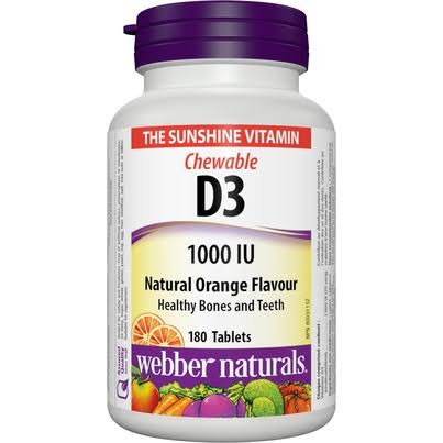 Webber Naturals Vitamin D3, 1000IU Orange Flavour, 180 Chewable Tablets