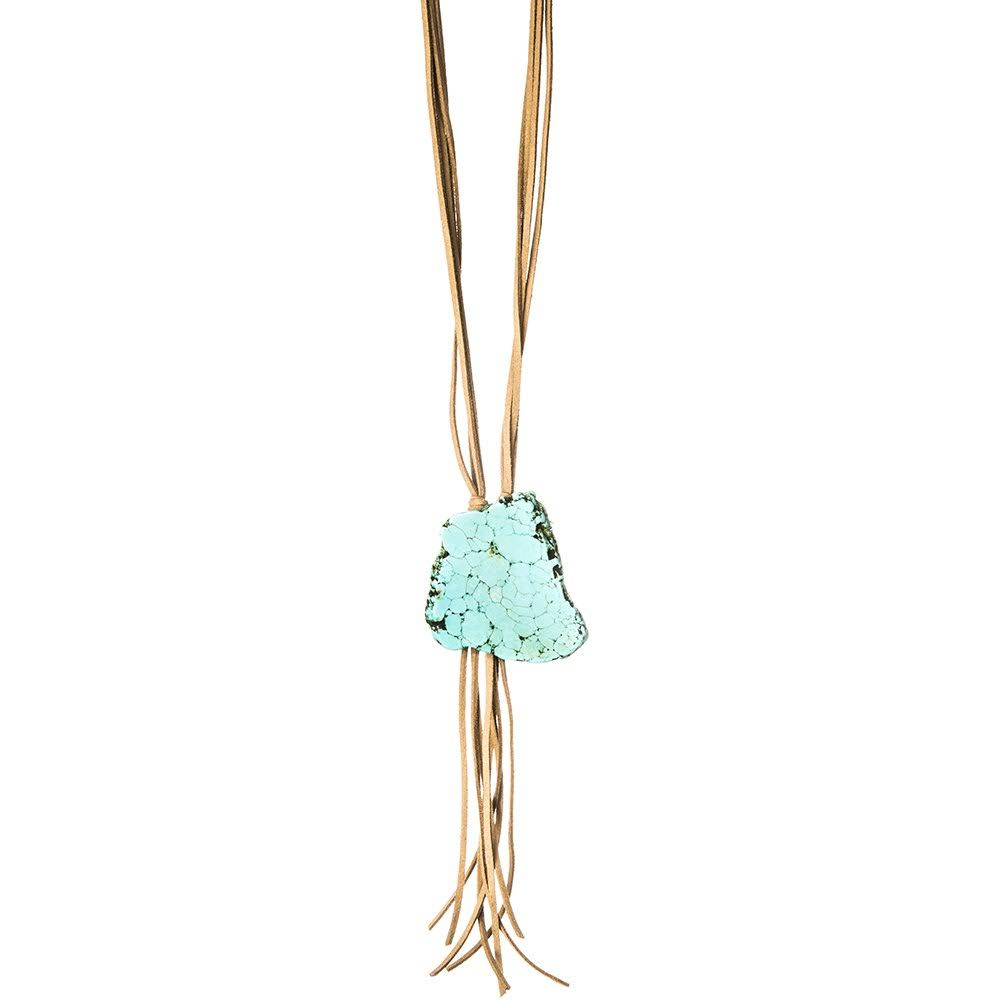 Jwest and Company Womens J West Leather Bolo Necklace with Large Turquoise Stone Tan, Beige
