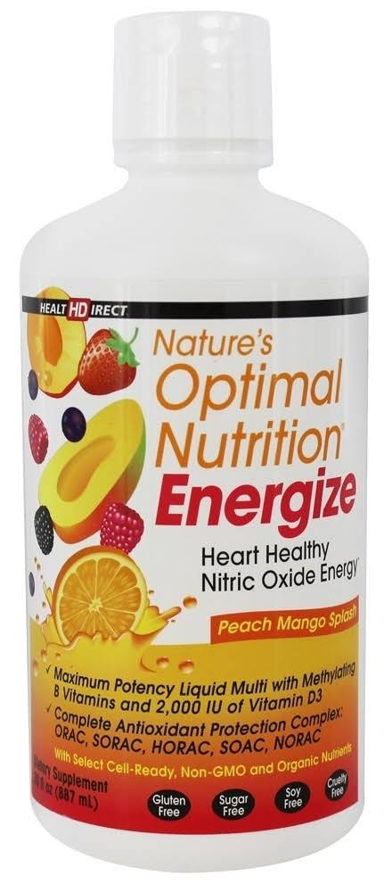 Nature's Optimal Nutrition Energize Liquid Multi Vitamin - Peach Mango Splash, 30oz