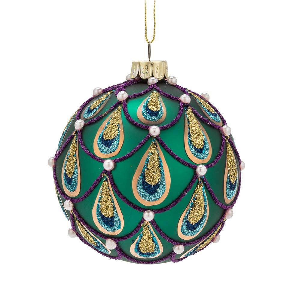Abbott Ornament Turquoise Peacock Ball Ornament One-Size