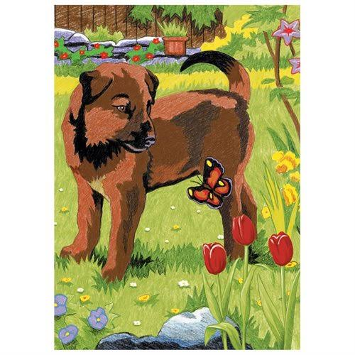 "Mini Color Pencil by Number Kit 5""x7"" Puppy & Butterfly"