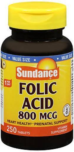 Sundance Folic Acid Vitamin Supplement - 250 Tablets