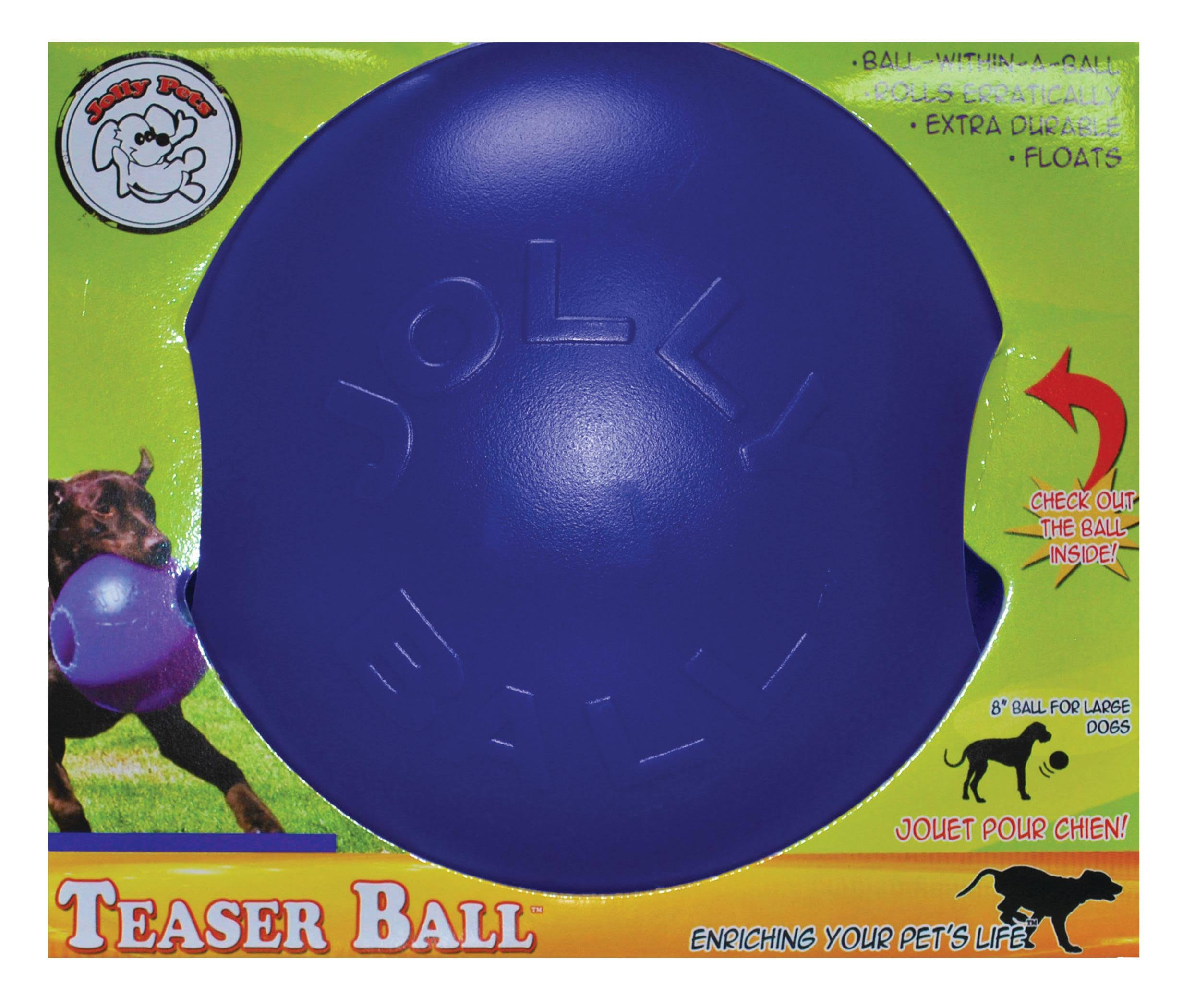 Jolly Pets Teaser Ball Dog Toy - Blue, 6""
