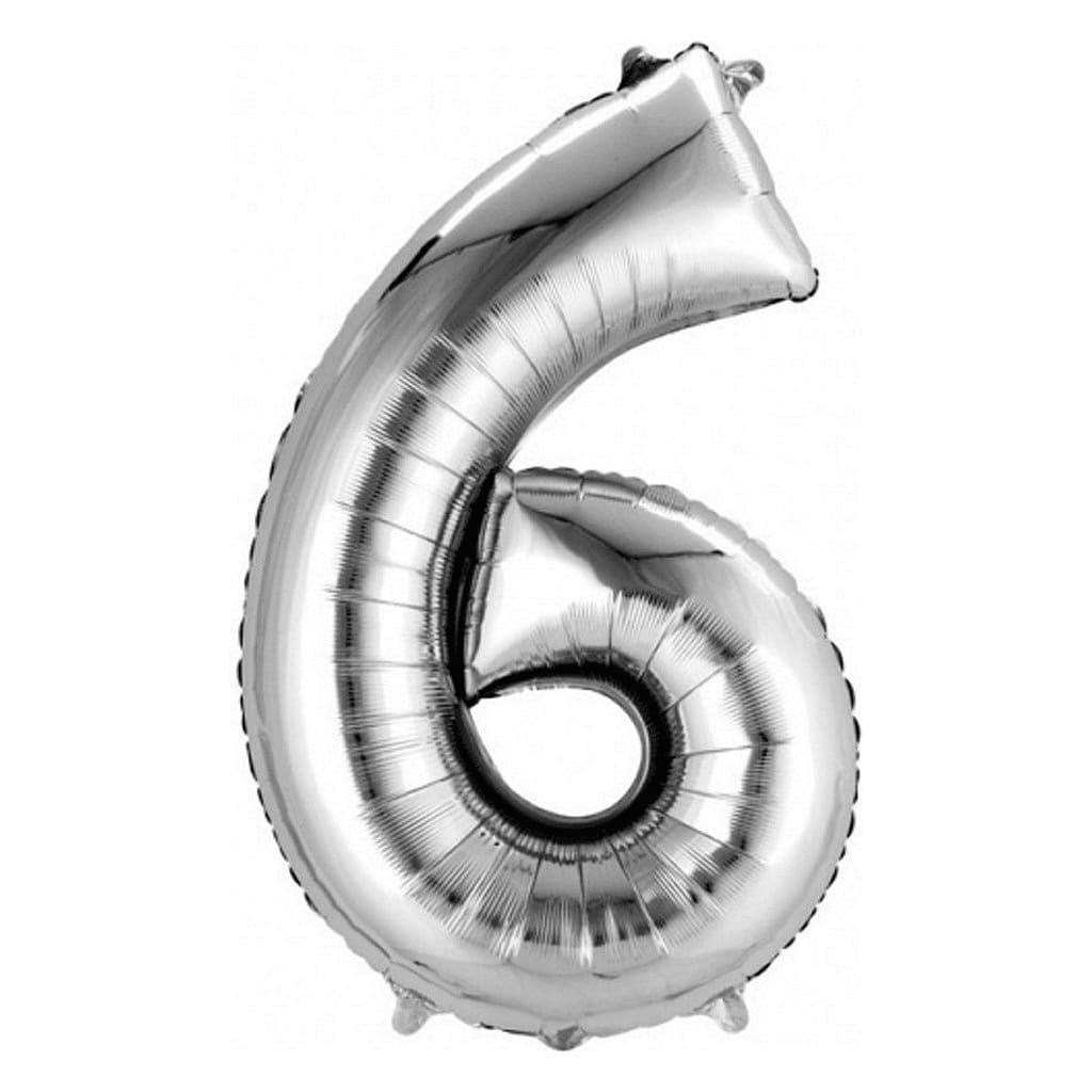 Super Shape Foil Balloon - Number 6, Silver, 55cm x 88cm