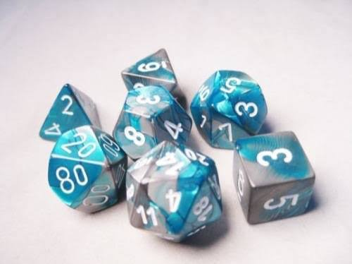 Chessex: Polyhedral Dice Set - Gemini Steel-Teal w/White (7)