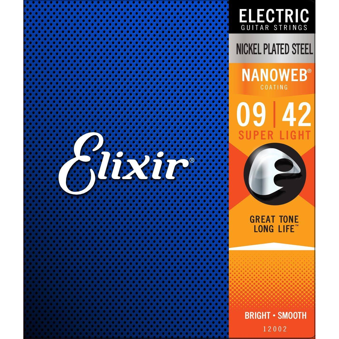 Elixir 12002 Nanoweb Electric Guitar Strings - Super Light