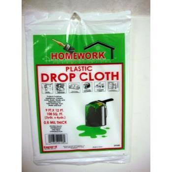 DD Light Duty Drop Cloth - Plastic 12' x 9'(Pack of 48)