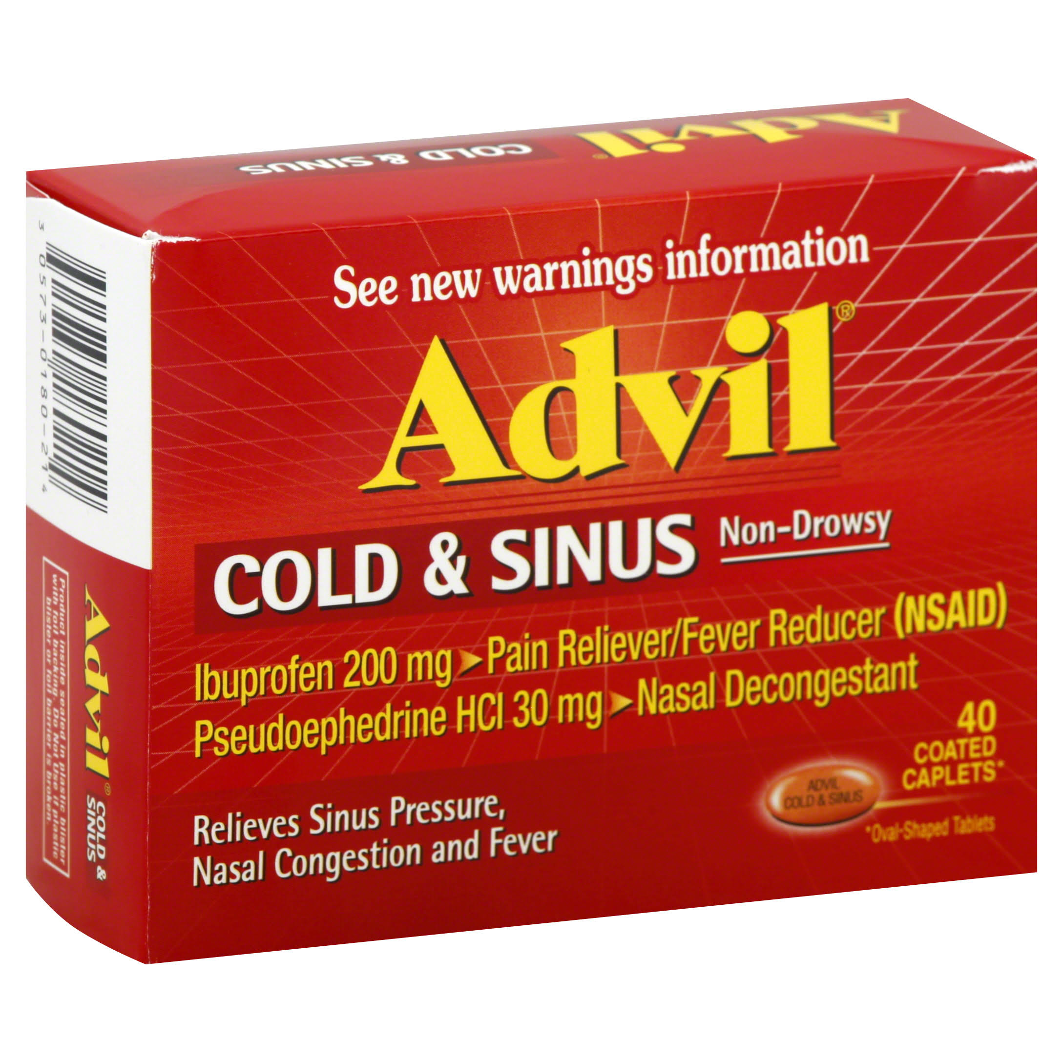 Advil Cold and Sinus Non-drowsy Ibuprofen Coated Caplets - 40 Count