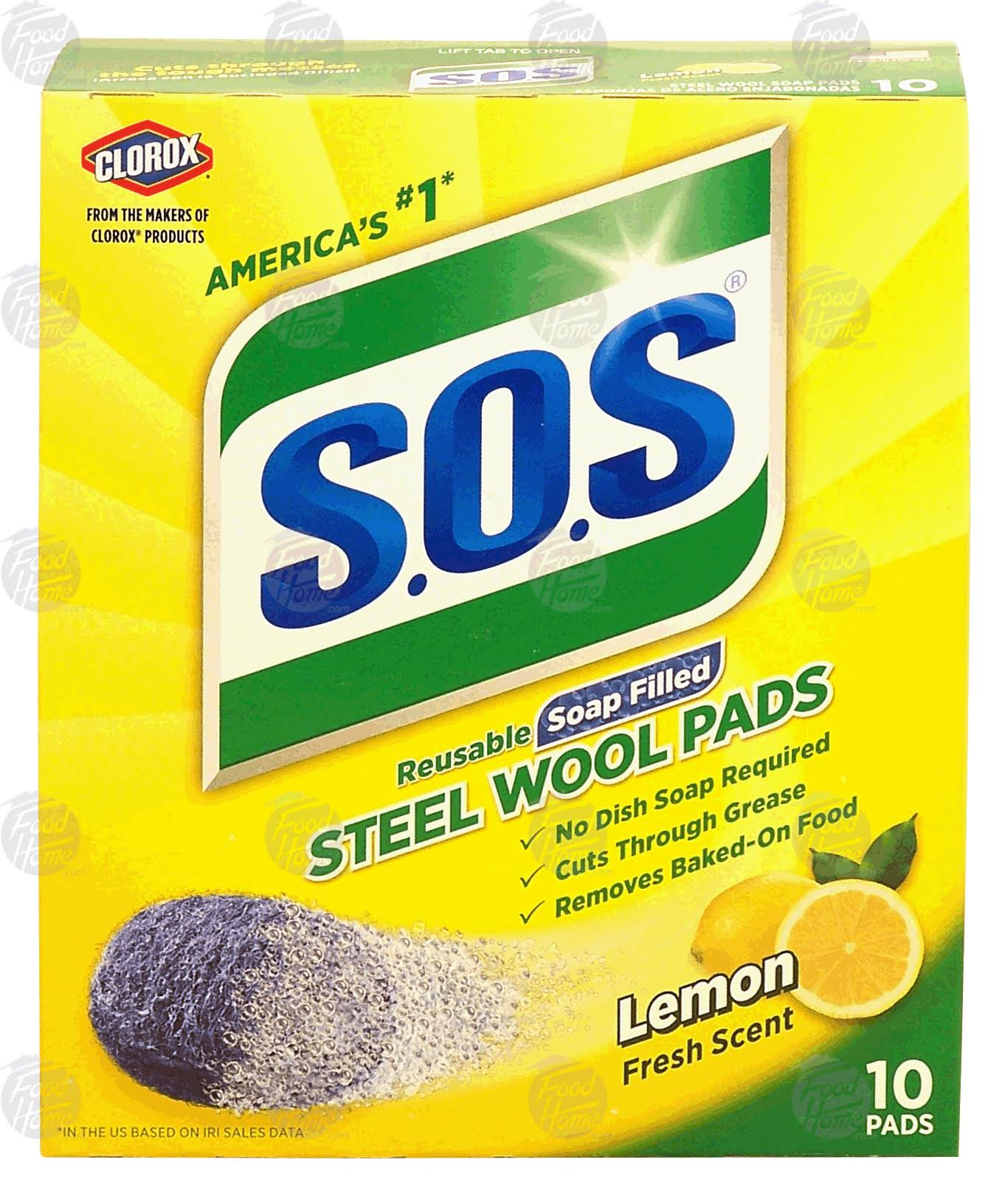 S.O.S Steel Wool Soap Pads - Lemon Fresh, 10ct