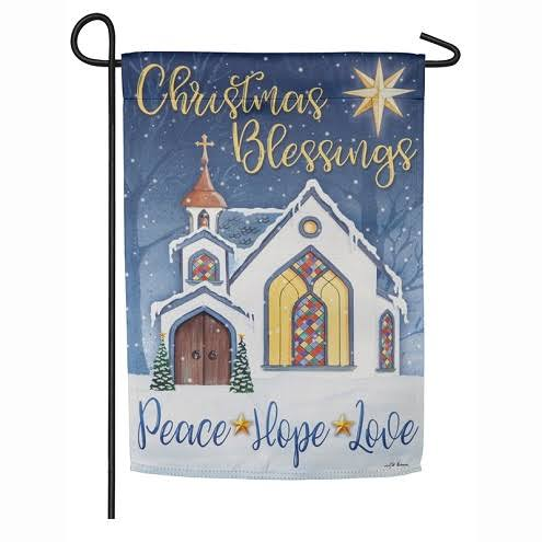 Evergreen Christmas Blessings Garden Suede Flag