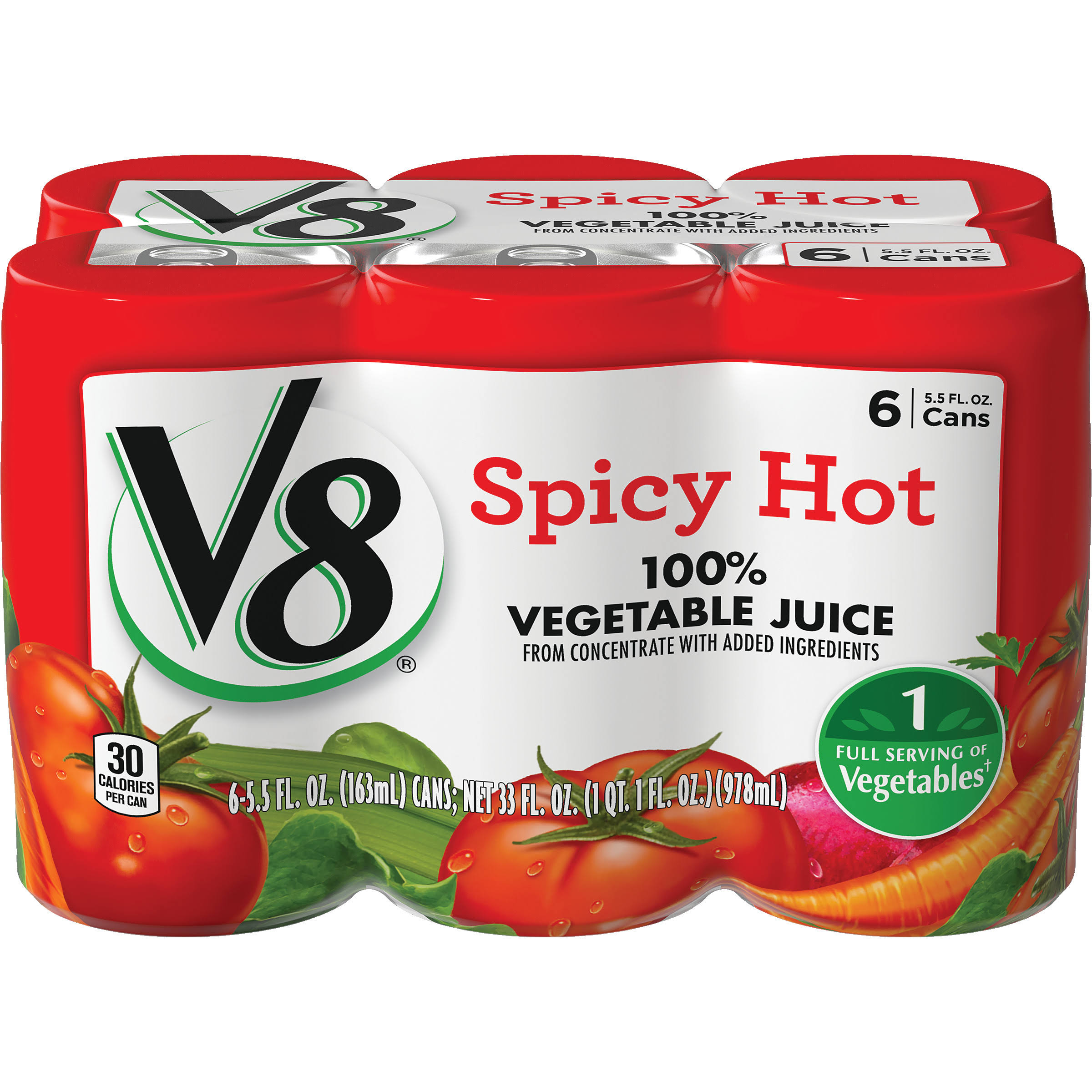 V8 Vegetable Juice - Spicy Hot, 5.5oz, 6pk
