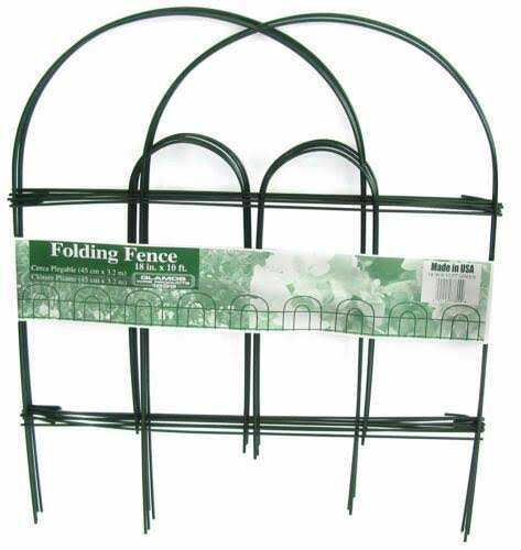 "Glamos Wire Products Folding Fence - Green, 18""x10'"