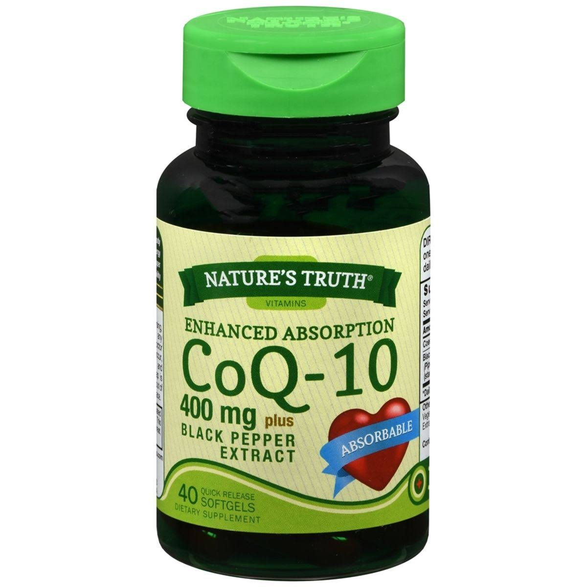 Nature's Truth CoQ-10 400 mg Plus Black Pepper Extract Dietary Supplement, 40 ct