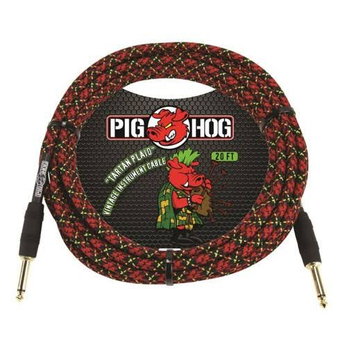 Pig Hog Instrument Cable - 20', Tartan Plaid