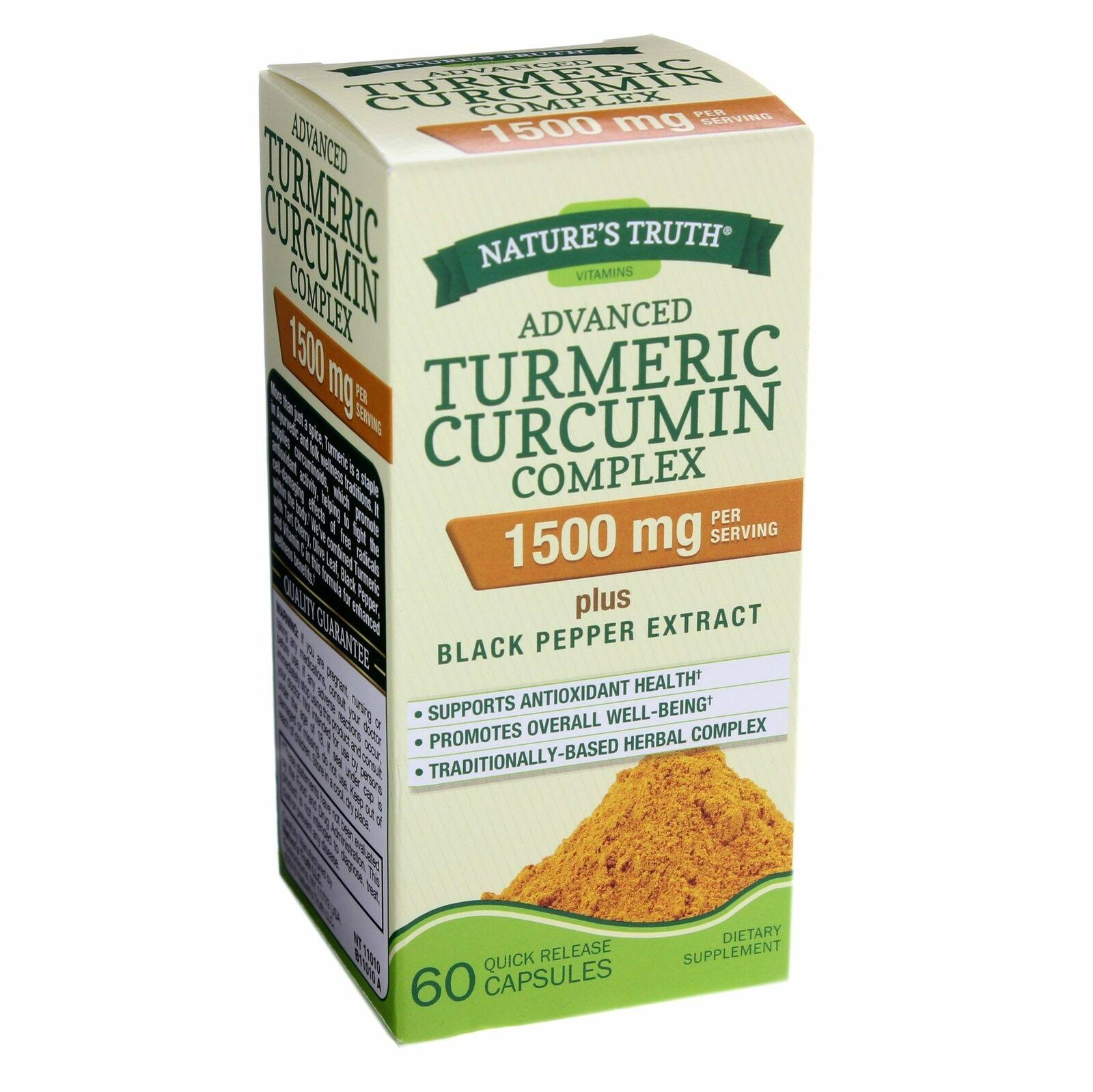 Natures Truth Vitamins Turmeric Curcumin, Rapid Release Liquid Softgels - 60 softgels