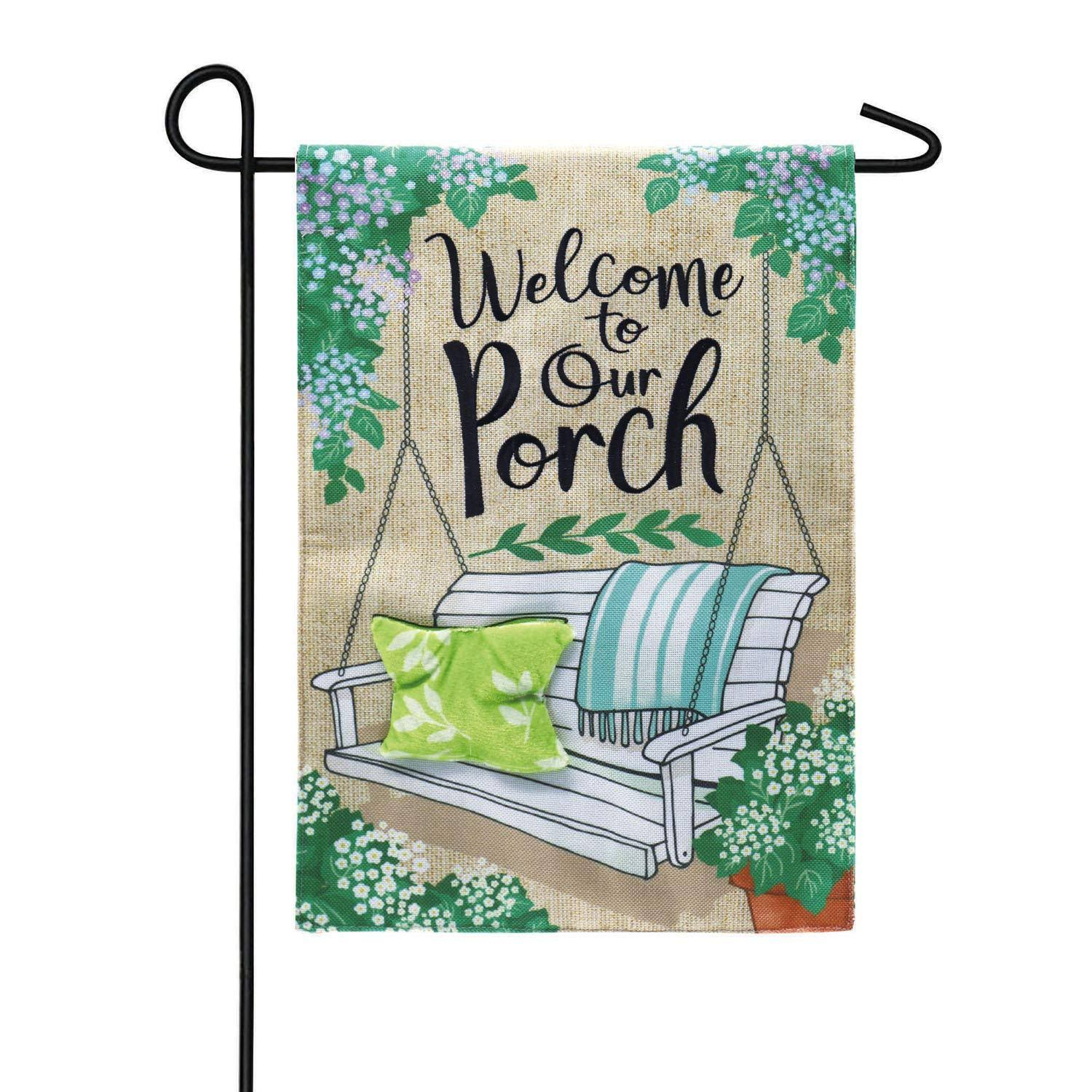 Evergreen Porch Swing Welcome Burlap Garden Flags