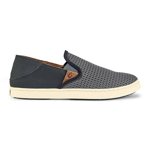 OluKai Womens Pehuea Slip on Shoes - Charcoal and Dark Shadow, 7 US