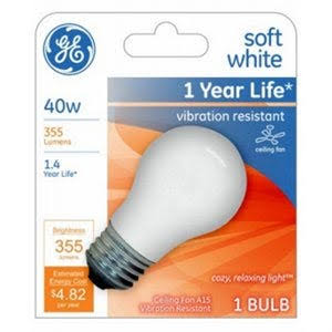 GE 99461 A15 Incandescent A Line Bulb - Soft White, 355 Lumens