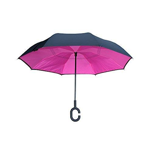 Topsy Turvy Pink - Pink & Black Inverted Umbrella