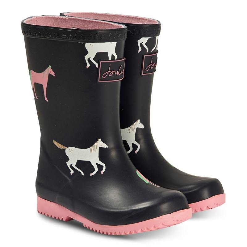 Joules Kids Roll Up Rain Boots - Navy Horses 4