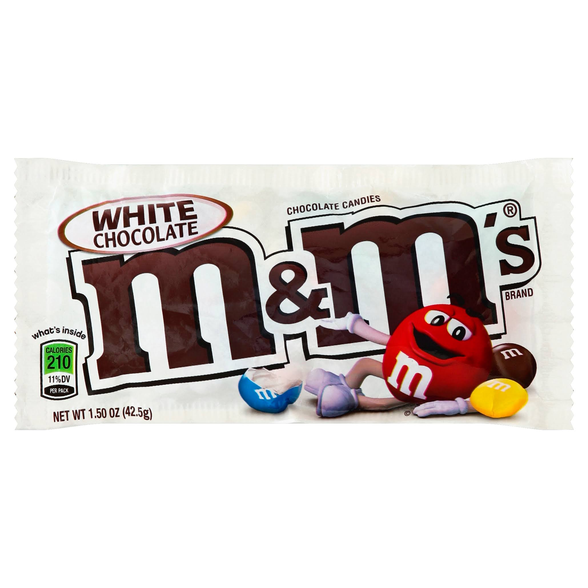 M & M Chocolate Candies, White Chocolate - 1.5 oz