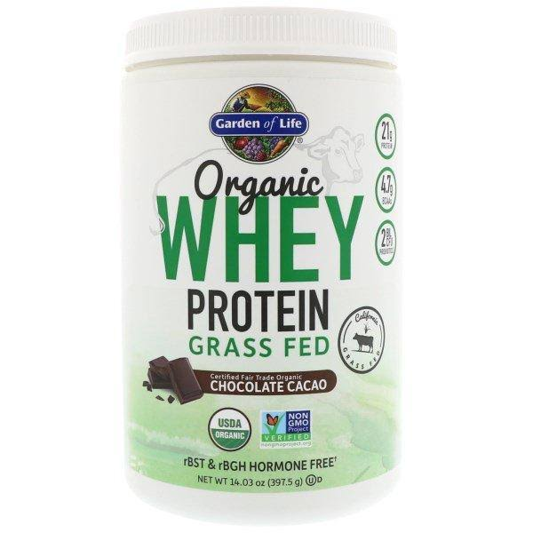 Garden of Life Organic Whey Protein Grass Fed Sports Supplement - Chocolate Cacao, 397.5g