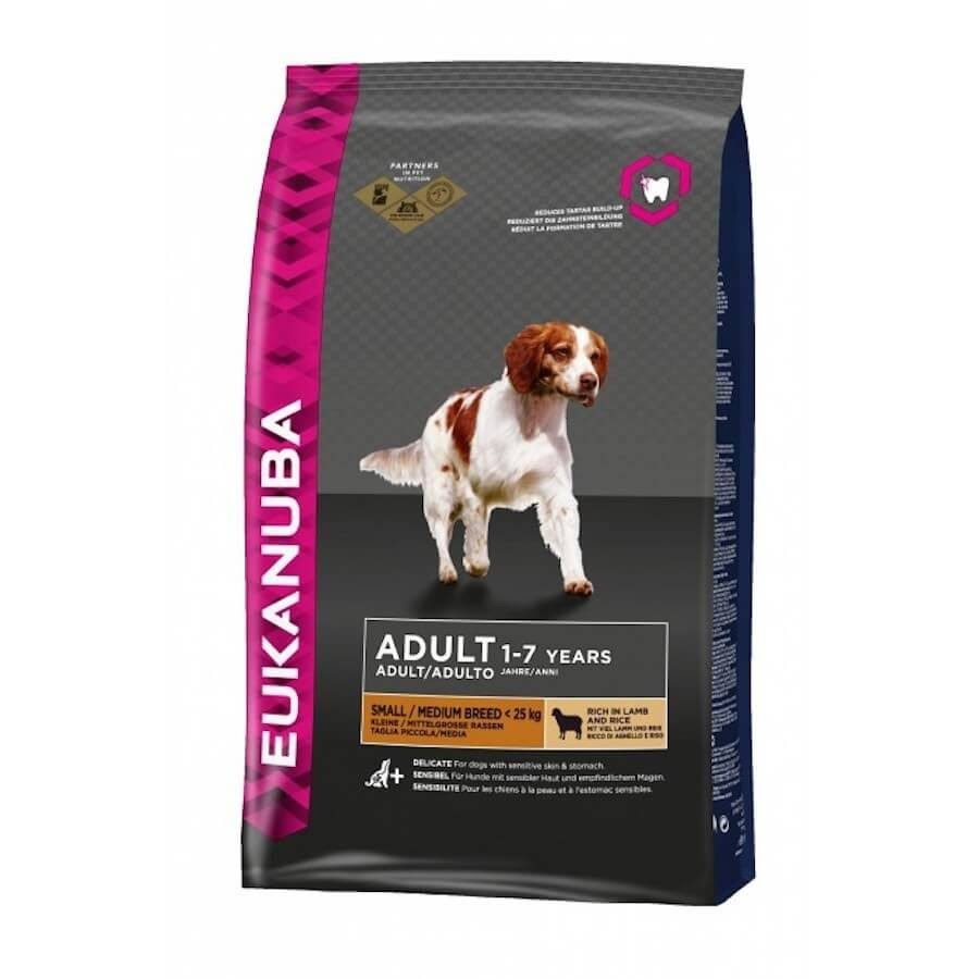 Eukanuba Adult 1-7 Years Small/Medium Breed Dry Dog Food - Rich in Lamb and Rice, 2.5kg