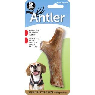 Pet Qwerks Nylon Antler Dog Treats - Peanut Butter, Medium