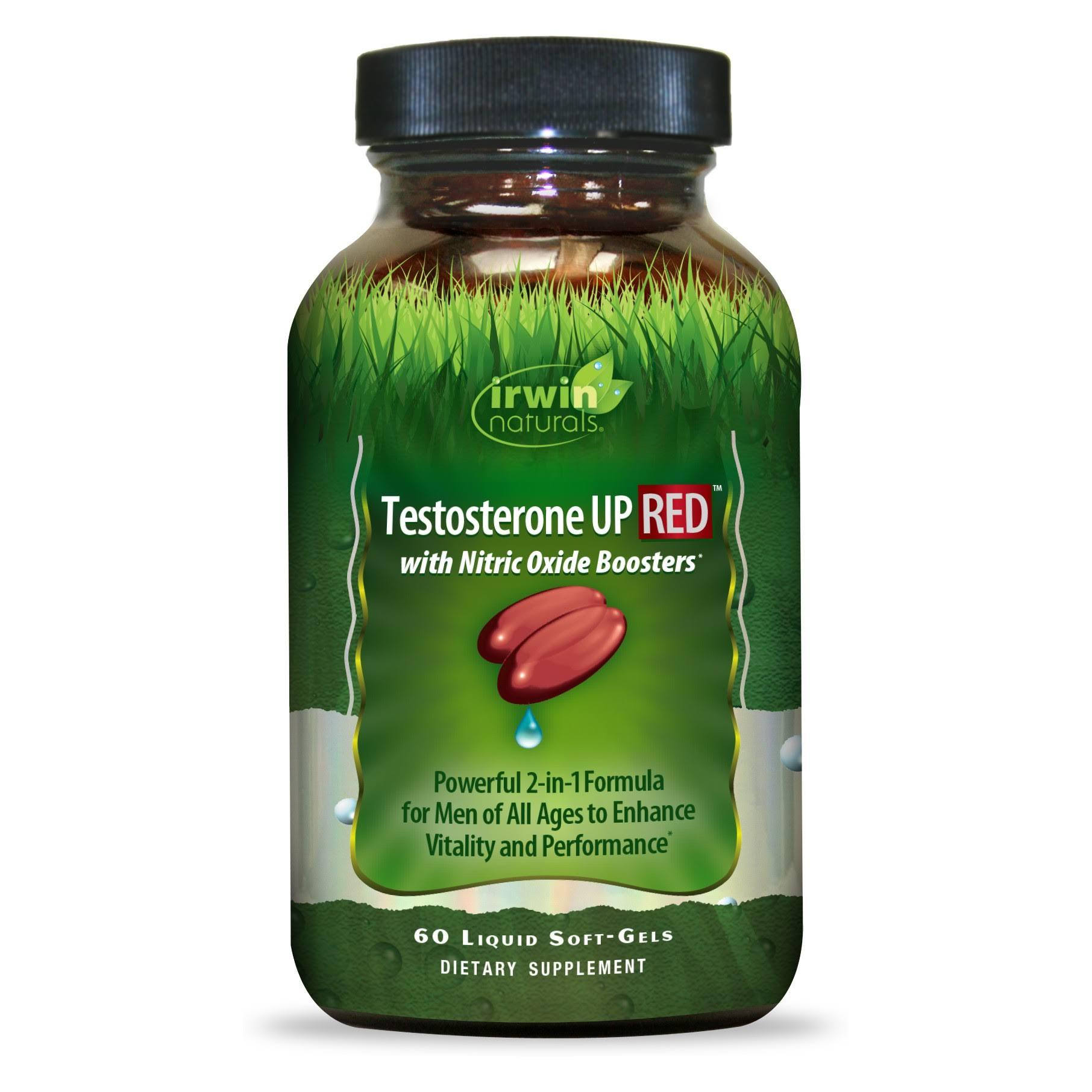 Irwin Naturals Testosterone up Red with Nitric Oxide Boosters Supplement - 60 Liquid Soft-gels