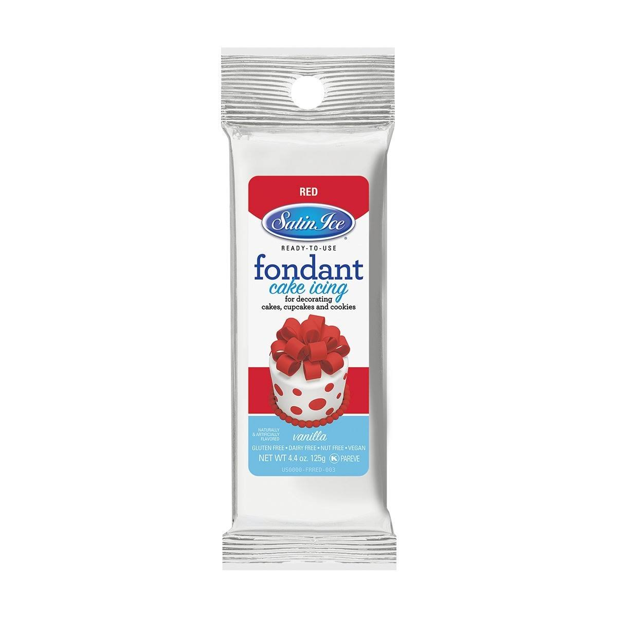 Satin Ice Rolled Fondant Icing - Red, 4oz