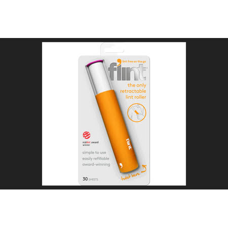 Flint Retractable Lint Roller, Yellow - 30 sheets