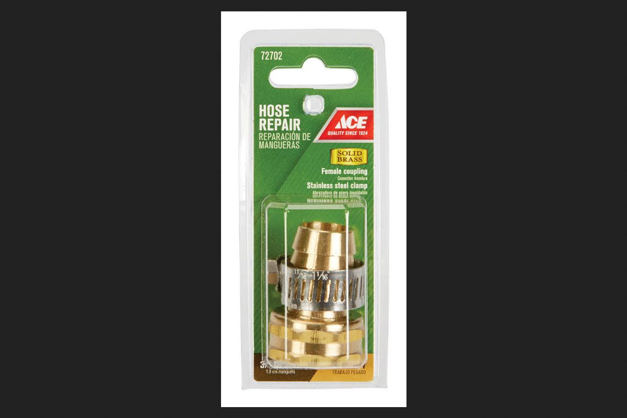 "Ace Hose Repair Swivel, Yellow Brass, 3/4"" x 3/4"""