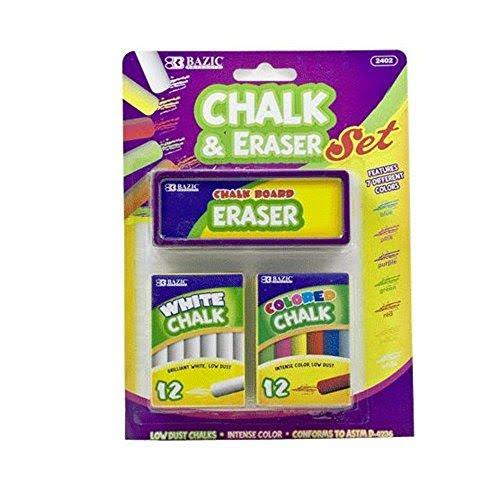 Bazic Colored and White Chalk with Eraser Set - 24pcs