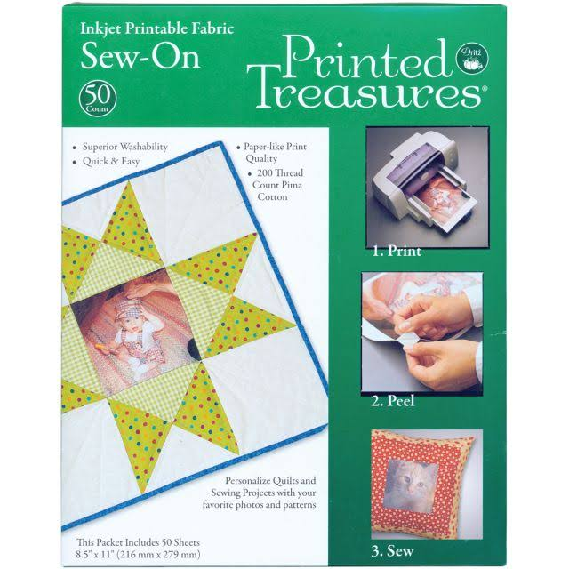 Dritz Printed Treasures Sew On Ink Jet Fabric Sheets - White, 22cm X 28cm