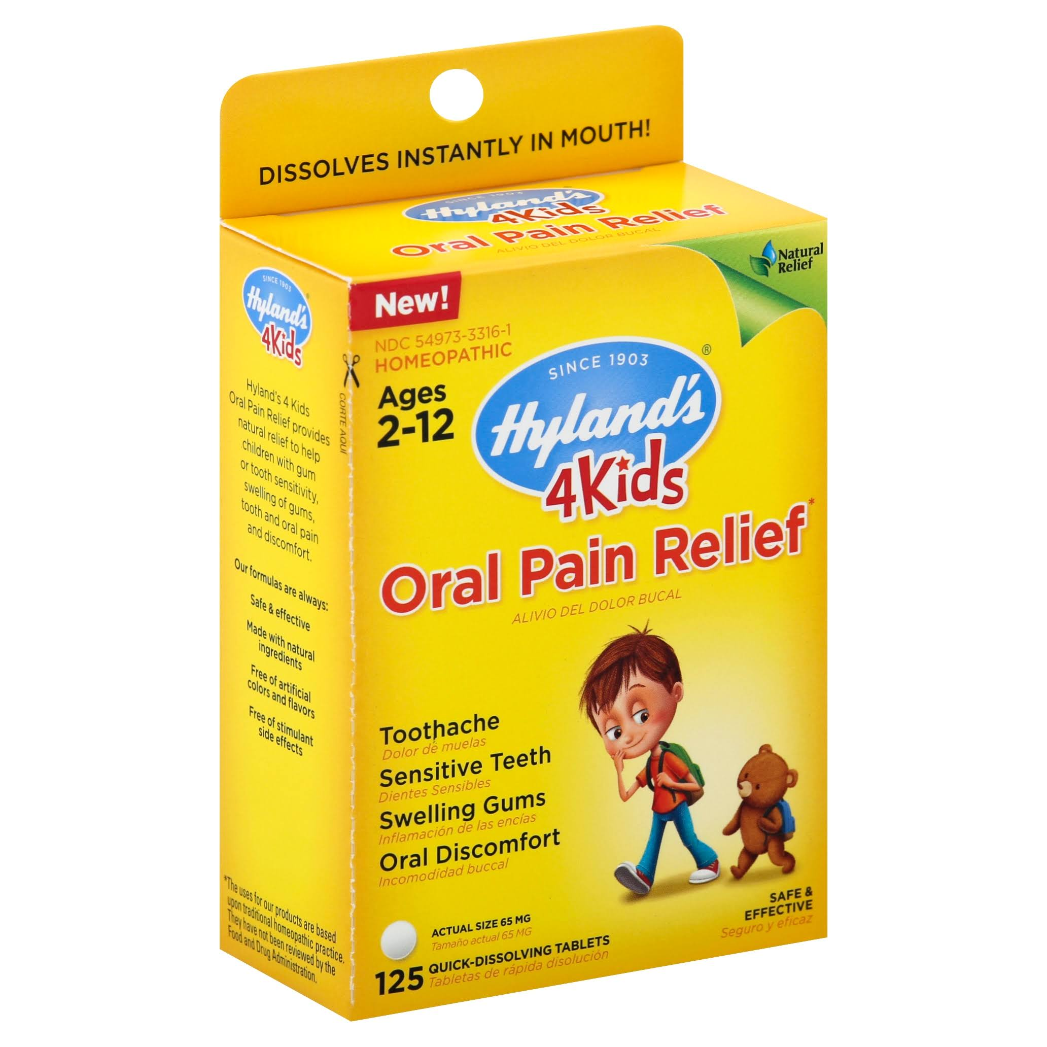Hylands 4Kids Oral Pain Relief, 65 mg, Quick-Dissolving Tablets - 125 tablets