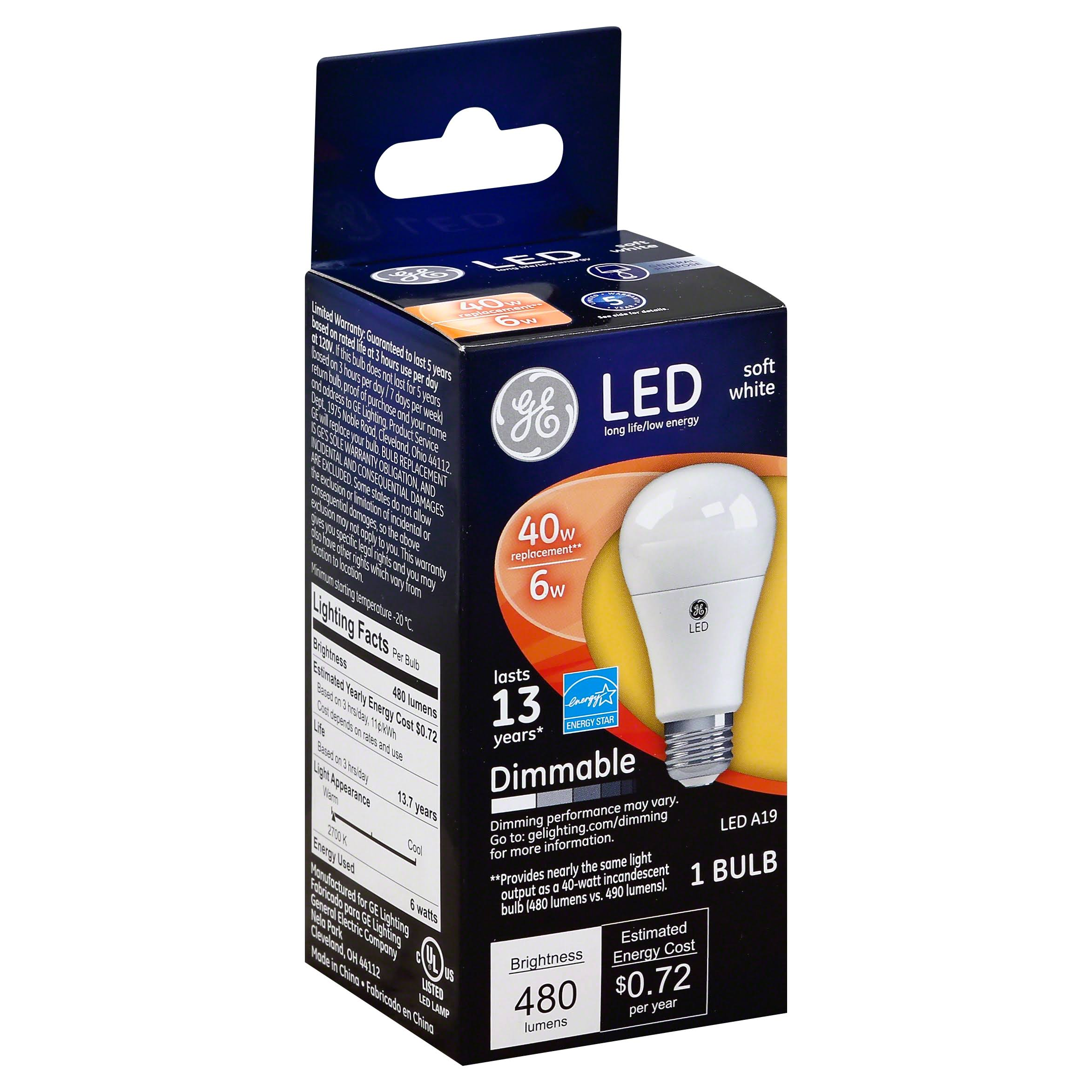 GE Dimmable LED Light Bulb - 6W / 40W, Soft White