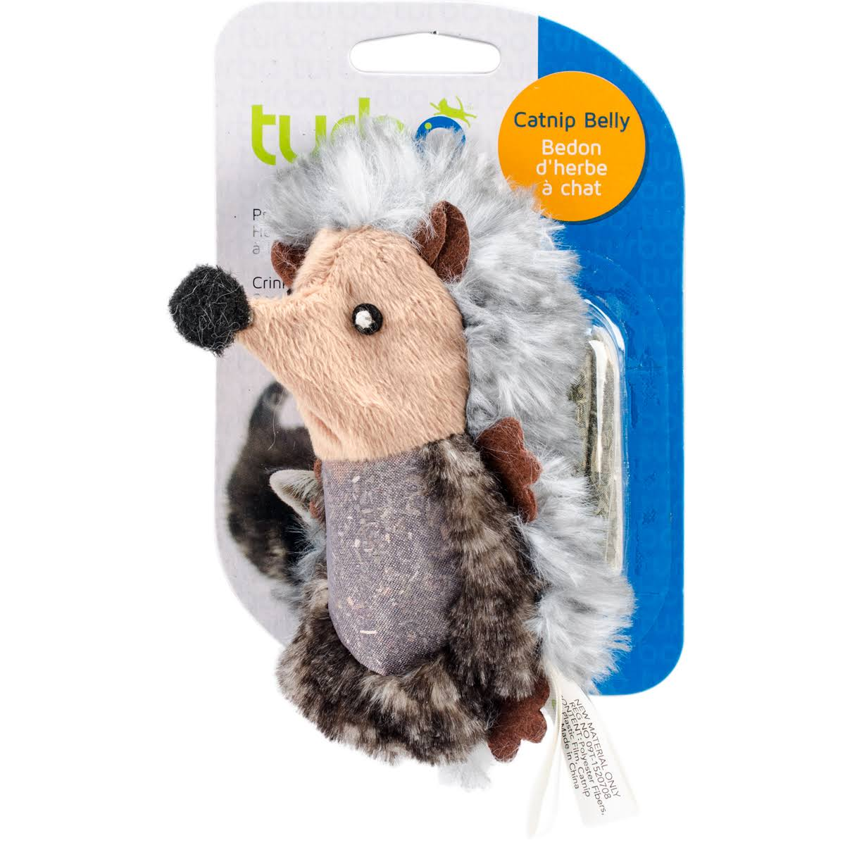 Turbo Catnip Belly Critters Cat Toy Hedgehog - 6.5""